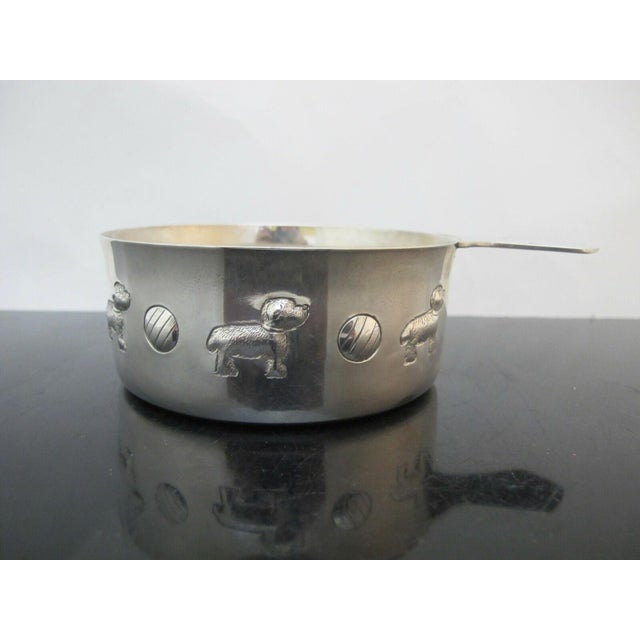Metal Tiffany & Co. Sterling Silver Baby Porringer Bowl with Dog & Ball Motif For Sale - Image 7 of 7