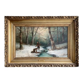 """Winter's Task"" Oil on Canvas by Henry a Duessel For Sale"