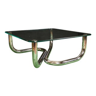 Modern Chrome Tubular Coffee Table For Sale