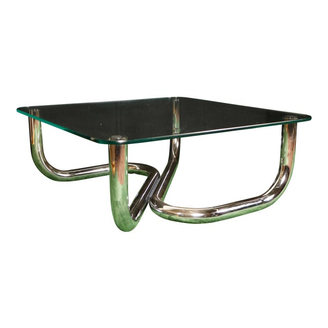 Modern Chrome Tubular Coffee Table - Image 1 of 11