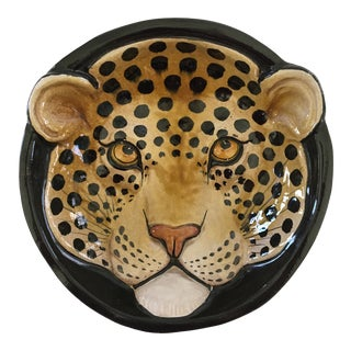 Italian Mid-Century Hand Painted Spotted Leopard Bowl For Sale