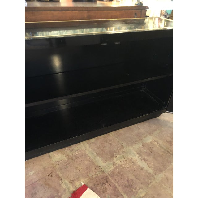 Brass Black Lacquer Mastercraft Console Cabinet For Sale - Image 7 of 13