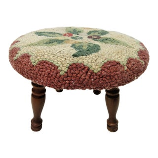 1940s Vintage Round Hooked Rug Stool For Sale