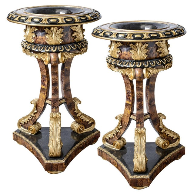 Chocolate Pair of Gilt and Faux Tortise Shell Planters For Sale - Image 8 of 8
