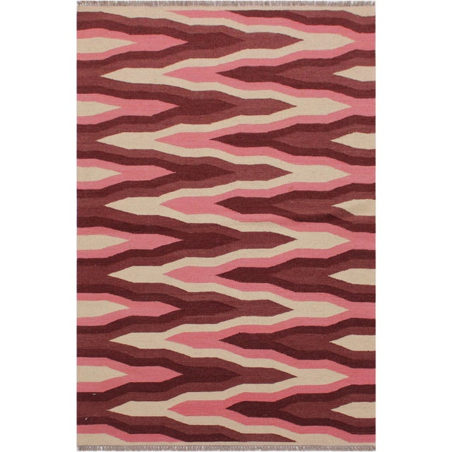 Raspberry Red Contemporary Kilim Sallee Red Hand-Woven Wool Rug -3′3″ × 5′ For Sale - Image 8 of 8