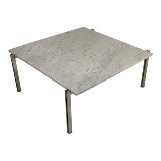Flat Bar Chrome With Carrara Marble Top Coffee Table in the Style Kjaerholm For Sale