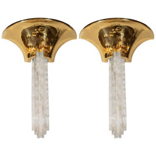 "Documented Karl Springer Mid-Century Polished Brass and Lucite ""Purcell"" Sconces - a Pair For Sale"