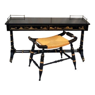 Vintage Hekman Asian Chinoiserie Faux Bamboo Table With Matching Stool For Sale