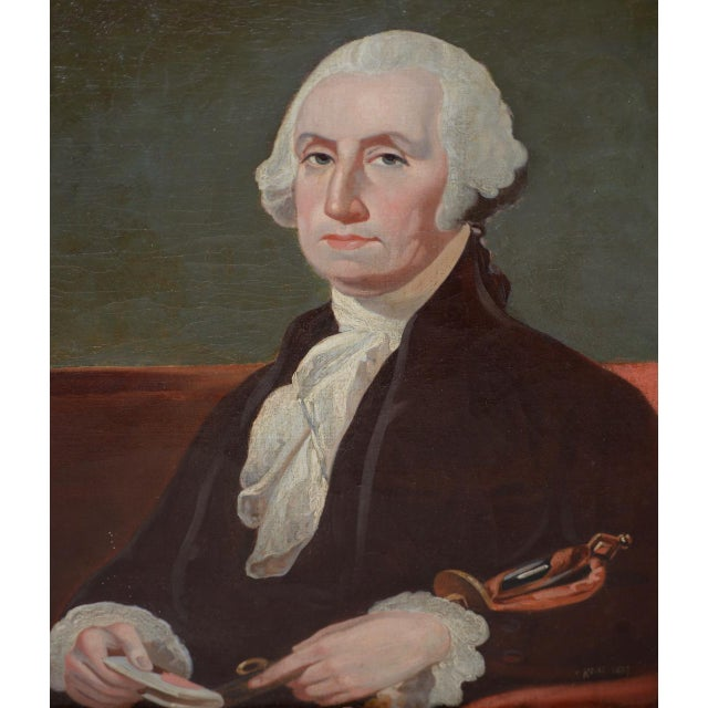 Early 19th Century Portrait of George Washington Oil Painting C.1837 For Sale - Image 4 of 11