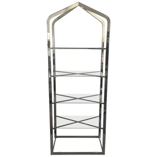 Mid-Century Modern Brass and Glass Pagoda Etagere For Sale