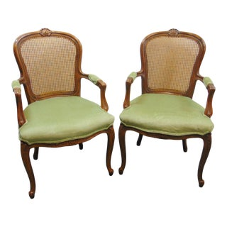 Drexel Louis XV Style Carved Fruitwood Caned Arm Chairs - a Pair For Sale