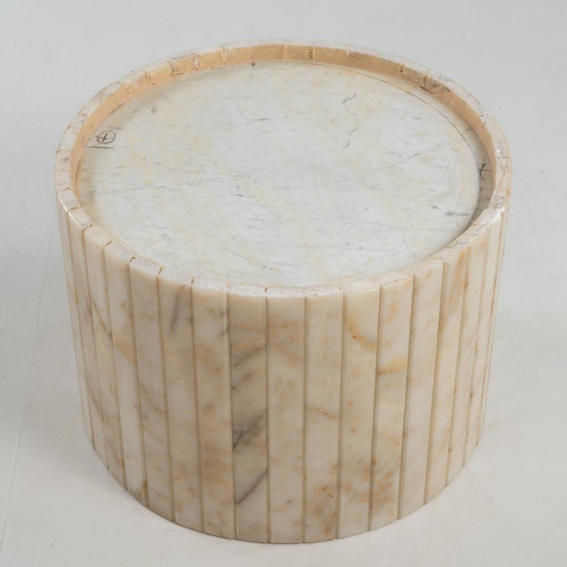 Hollywood Regency Round Alabaster Coffee Table on a Drum Base For Sale - Image 11 of 13