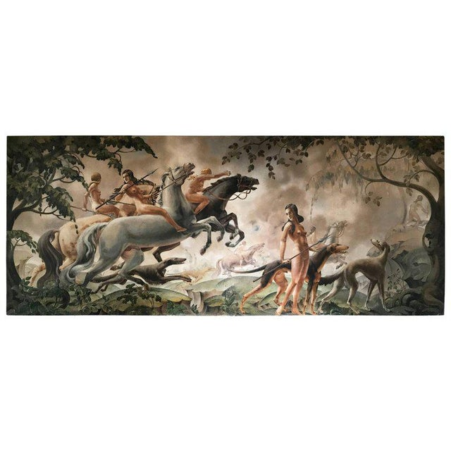 Gray Large Art Deco Mural of Diana the Huntress For Sale - Image 8 of 8