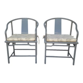 VIntage Gray Laquered Oriental Chairs- a Pair For Sale
