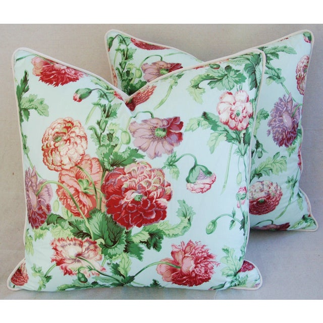 """Boho Chic Designer Brunschwig & Fils Poppies Feather/Down Pillows 22"""" Square - Pair For Sale - Image 3 of 10"""