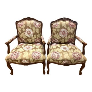 Late 20th Century Vintage French Louis XV Style Fauteuils Arm Chairs- A Pair For Sale