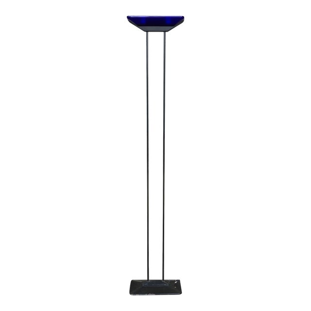 Vintage 1980s Barbieri and Marianelli Floor Lamp With Cobalt Blue Glass Shade and Steel Frame For Sale