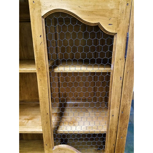 2010s French Country Chicken Wire Cupboard Hutch China Cabinet For Sale - Image 5 of 7