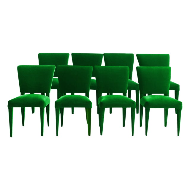 BOND Design Studio Stiletto Dining Chairs Upholstered in Emerald Mohair - Set of 8 For Sale - Image 4 of 4