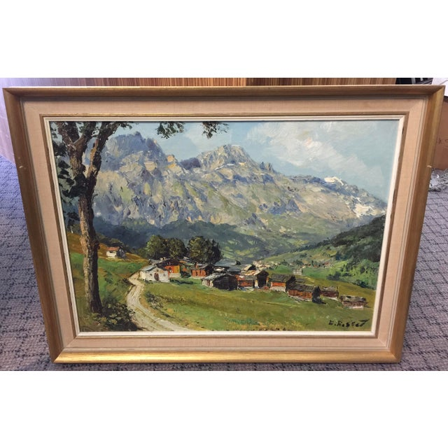 Village Mountain Scene Oil Painting Signed E Rosset For Sale - Image 10 of 10