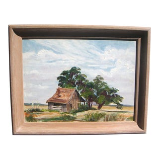 1950s Texas Rural Painting by California Artist For Sale