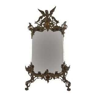 19th C. Art Nouveau Table Top Bronze Mirror For Sale