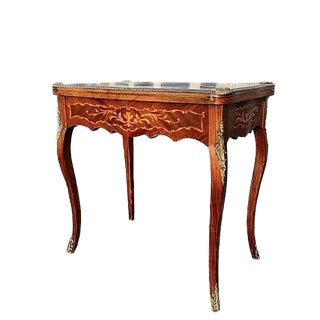 19th Century French Louis XV Style Marquetry Inlaid Bronze Swivel Top Card Game Table For Sale