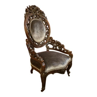 Victorian Carved Floral Motifs Mahogany Accent Chair Newly Upholstered For Sale