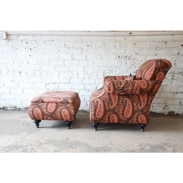 2000s Kravet Lounge Chair and Ottoman in Paisley Upholstery For Sale - Image 5 of 12
