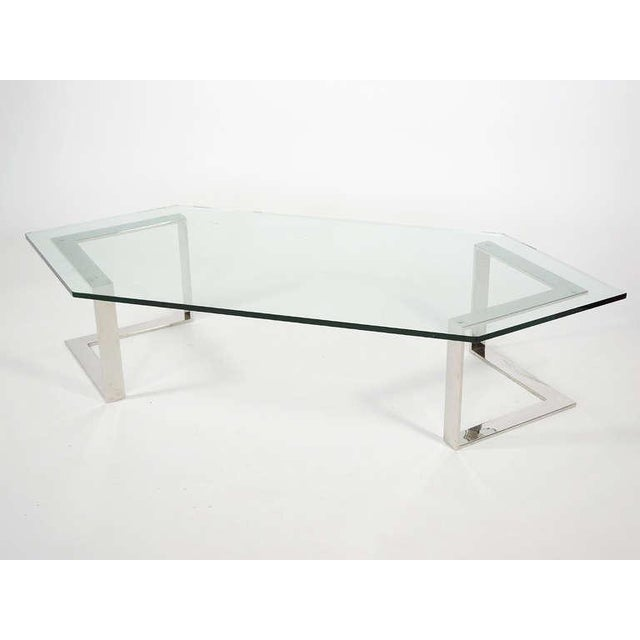 Chrome And Glass Coffee Table By Directional - Image 7 of 10