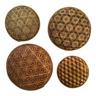 Antique Japanese Ceremonial Bamboo Woven Baskets - Set of 4 For Sale
