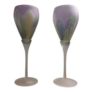 1960s Art Nouveau Rueven Hand-Painted Frosted & Stained Glass Stemware - a Pair For Sale