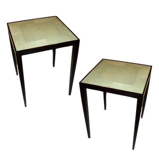 Custom Pair of Handcrafted Shagreen End Tables For Sale