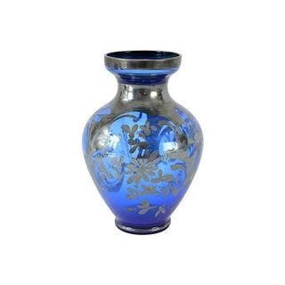 Vintage European Blue Vase For Sale