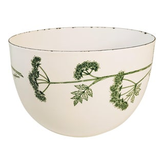 Kaj Franck Finland Enamel Bowl With French Parsley Plant Design For Sale