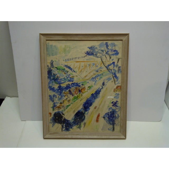"""This is a Framed Original Painting that is titled """"North Side of Pittsburgh"""" by S. Gottlieb and is dated 1958."""