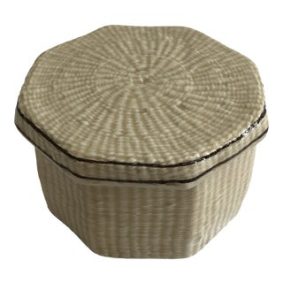 Vintage Italian Faux Basket Ceramic Box With Lid For Sale