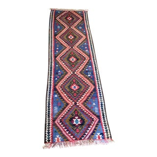 1980s Vintage Handmade Aztec-Style Kilim Runner Rug - 2′2″ × 7′2″ For Sale