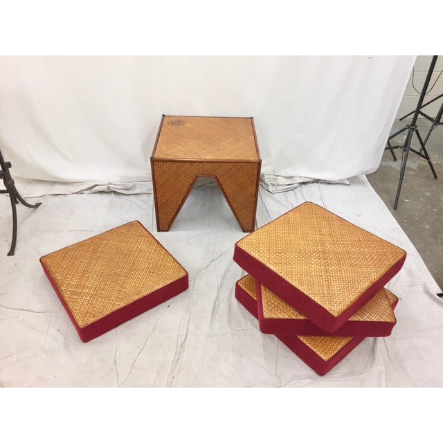 Vintage Woven Side Table & Stacking Ottomans - Set of 5 - Image 6 of 7