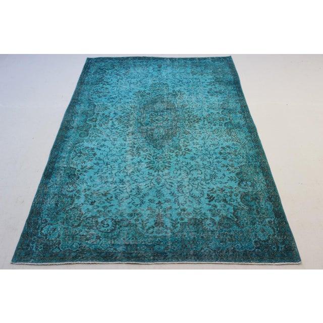 "Turkish Overdyed Turquoise Area Rug - 5'7"" X 9'1"" - Image 2 of 8"