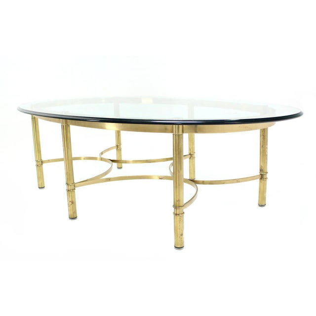 Hollywood Regency Oval Brass and Glass Coffee Table For Sale - Image 3 of 7