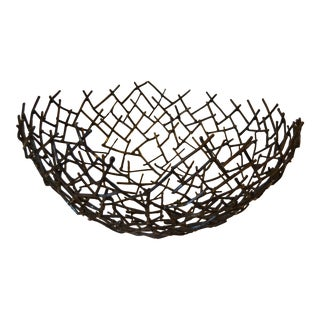 Modern Michael Aram Thatch Bowl in Bronze Nest Twig For Sale