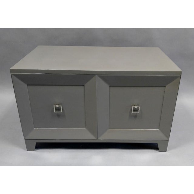 Metal Contemporary End Table With Doors and Matching Side Panels For Sale - Image 7 of 7
