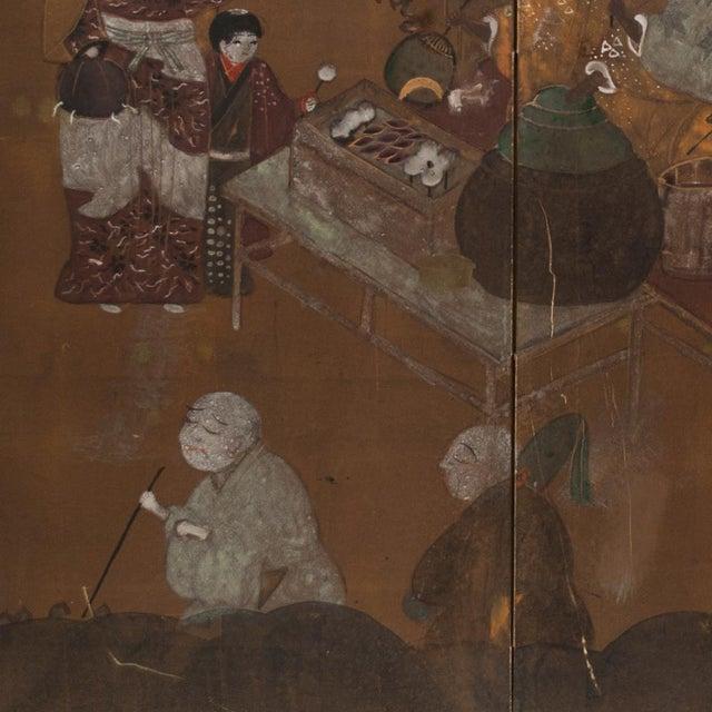 Brown C. 1920s Japanese Market Scene Gold Leaf Byobu Screen For Sale - Image 8 of 13