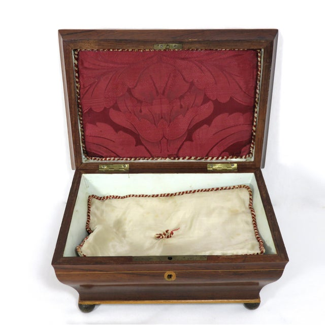 Late 19th Century 19th Century Victorian Rosewood Marquetry Sewing Box For Sale - Image 5 of 13