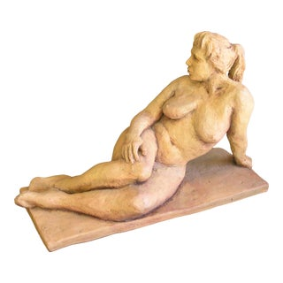 "1990s ""Gail"" Figurative Clay Nude Sculpture of a Woman with Ponytail For Sale"