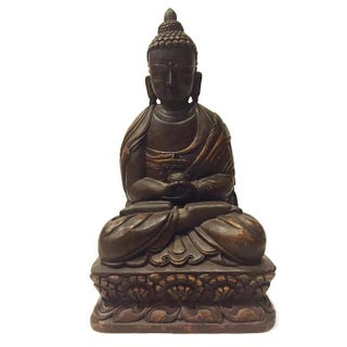 Vintage Carved Nepal Buddha Tall Temple Statue