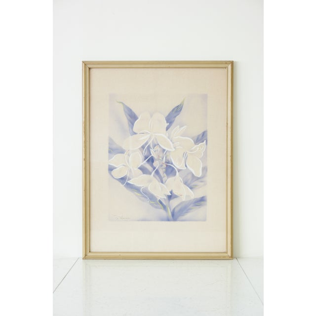 Vintage Framed Airbrush Watercolor Painting For Sale - Image 6 of 6