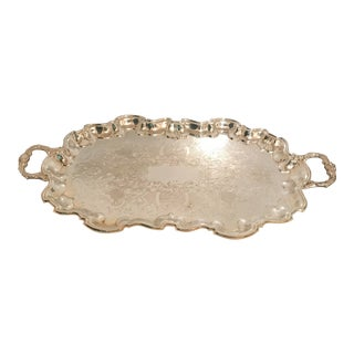 Vintage Poole Silverplate Footed Scalop Tray