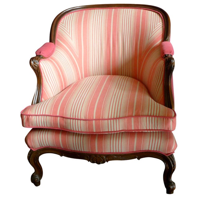 19th Century French Walnut Bergere Armchair Reupholstered With New Fabric. For Sale - Image 11 of 11